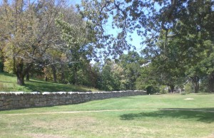 The Sunken Road path and stone wall